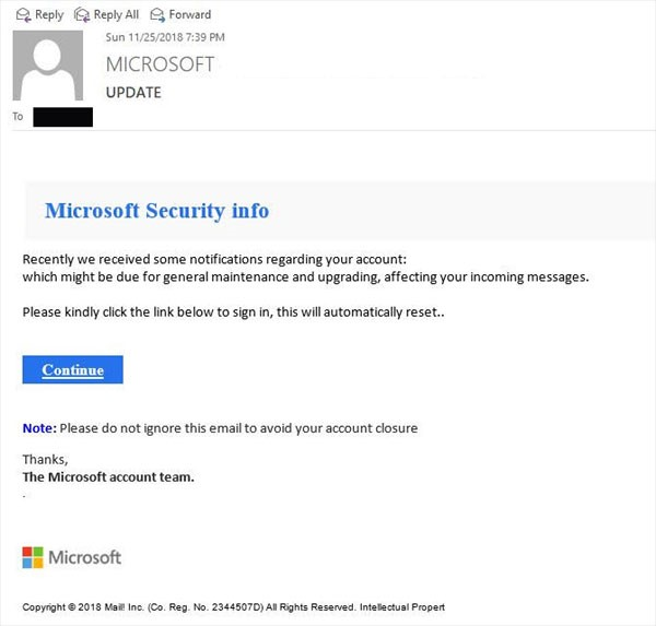Microsoft security phishing email