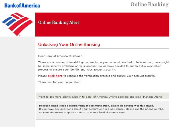 Bank of America phishing email