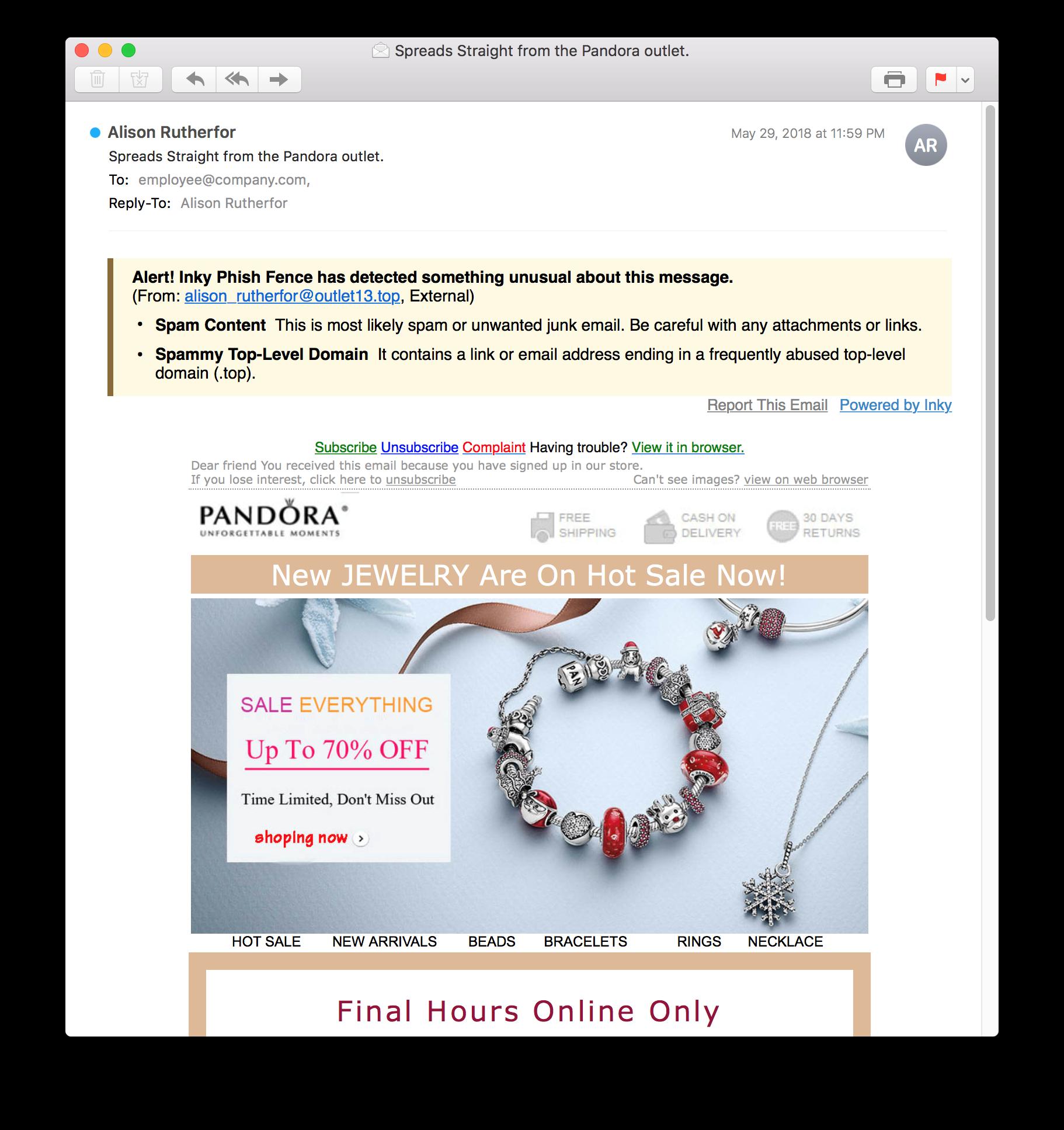 pandora phishing email