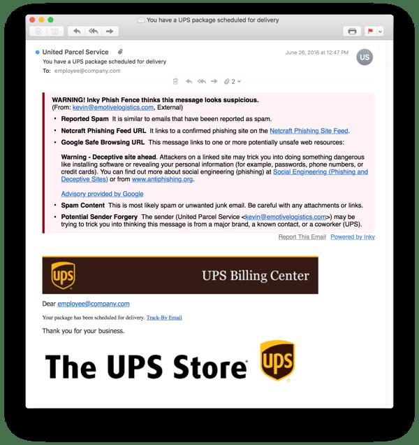 UPS store phishing email