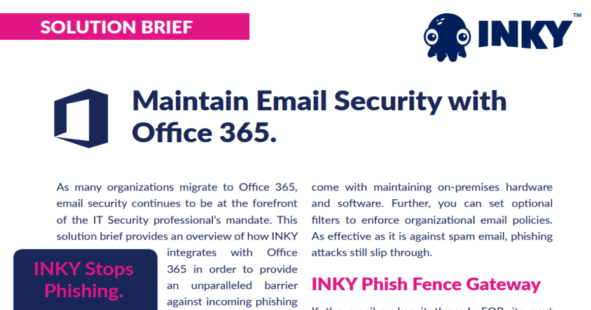 INKY and Microsoft 365 Solution Brief