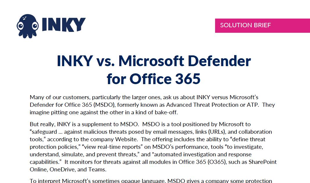 INKY vs. Microsoft Defender for O365
