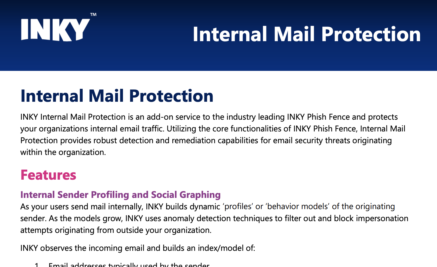 INKY Internal Mail Protection