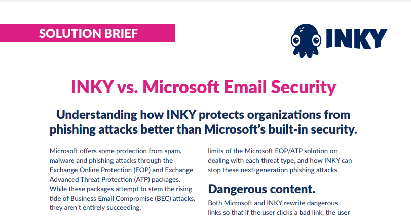 INKY Vs. Microsoft Security